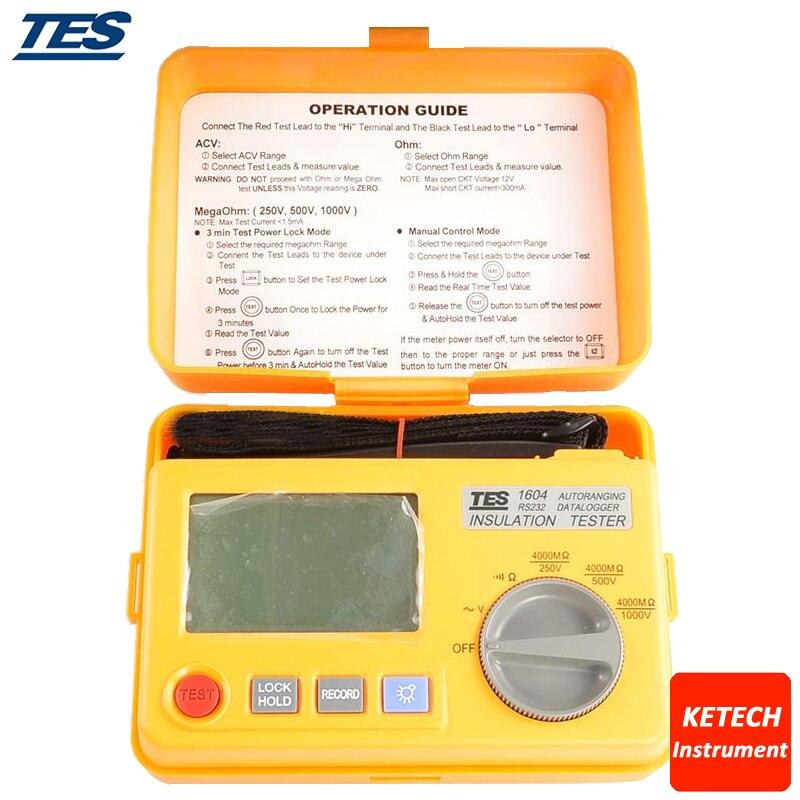 Probador de aislamiento de dataloging TES1604 RS-232