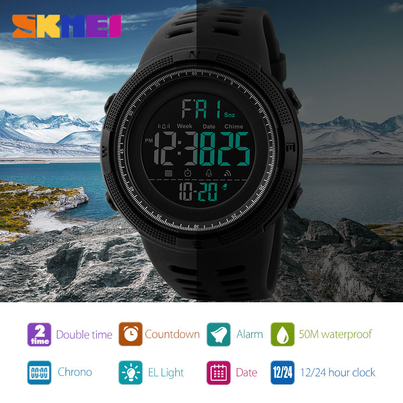 SKMEI Men Watches Sports Countdown Double Time Watch Alarm Chrono Digital Wristwatches Man Clock Wat