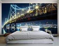 3d room wallpaper custom mural non woven wall sticker bridge night lights background wall painting photo wallpaper for walls 3d