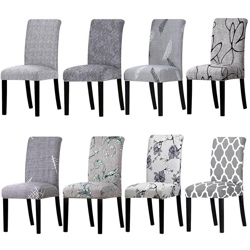 1 stück Grau Farbe Gedruckt Stuhl Abdeckung Waschbar Removable Big Elastische Sitz Arm Deckt Hussen Stretch Für Bankett Hotel