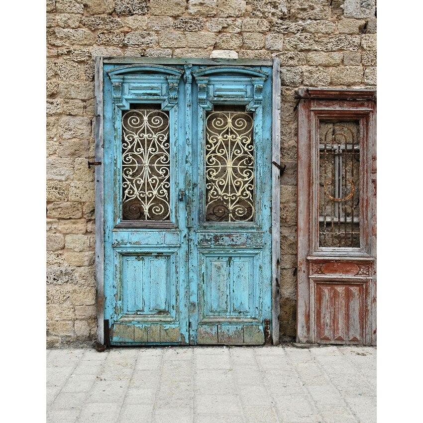 TR 5x7 pies vinilo piedras ladrillo pared exterior impreso fotografía Fondo vieja puerta de madera telón de fondo foto estudio boda telones de fondo