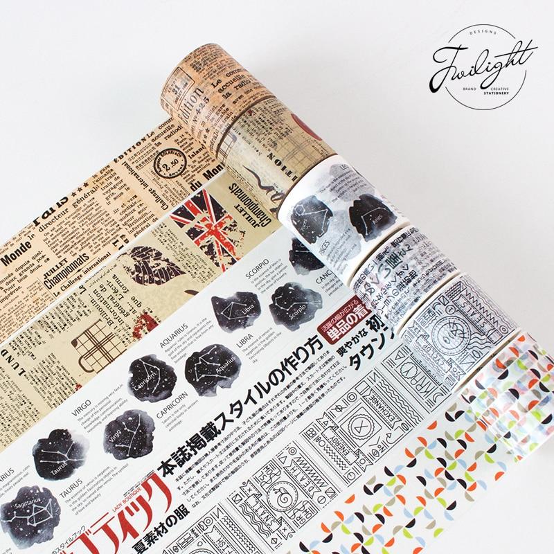 Cinta Washi temática Vintage para envolver manualidades DIY, pegatinas adhesivas para envolver a la gente, cintas de regalo para álbum de recortes