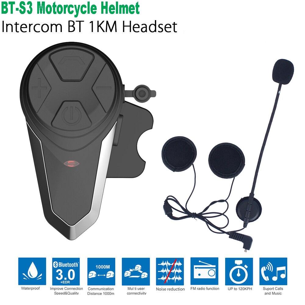BT-S3 Pro Motorrad Helm Intercom Motorrad Drahtlose Bluetooth Headset Wasserdichte BT Intercomunicador Sprech mit FM
