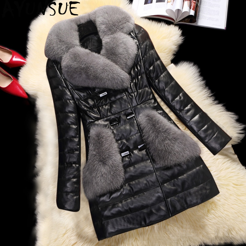 AYUNSUE Winter Faux Leather Jacket Women Faux Fox Fur Coat Women Down Cotton Parka Womens Jackets Chaqueta Cuero Mujer KJ746