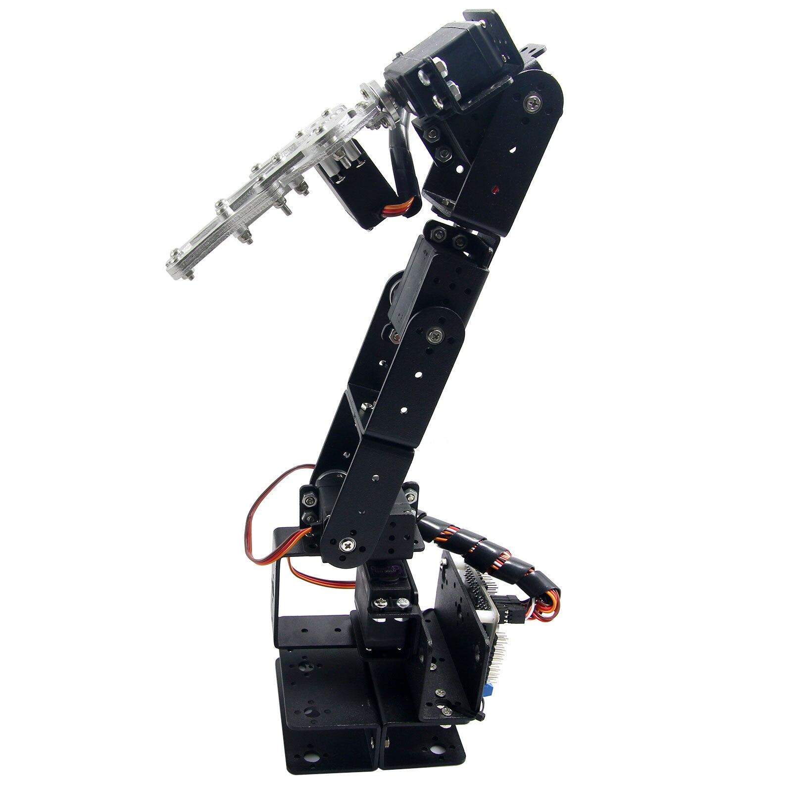 Alumínio Grampo Garra Mount kit robô 6 DOF Braço Robótico Mecânico com Metal Servo Chifre para Arduino