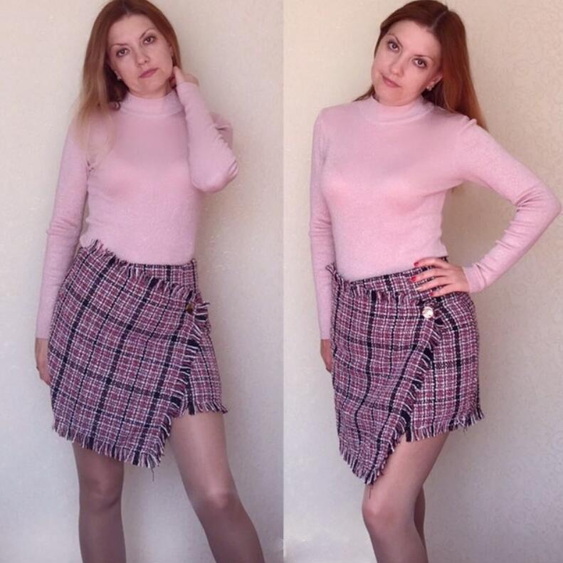 Denim Skirt Real Linen Polyester A-line Empire Lolita 2018 New Womens Lattice Tassel Irregular Mini Women Plaid