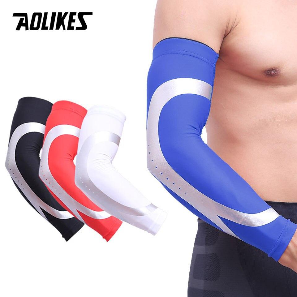 AOLIKES 1 PCS Esportes Basketball Shooting Arm Sleeve Aquecedores Elbow Pads Protector Estiramento Acolchoado Guarda Apoio Pad