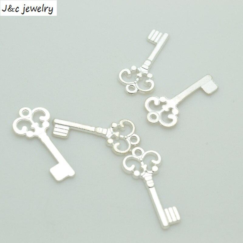 ¡Novedad! 75 unids/lote colgantes de aleación con llave chapada en plata, 21x10mm, fabricación de joyas DIY, dijes Artesanías hechas a mano 34179B