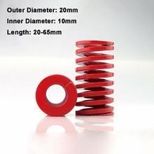 Ressort de Compression à charge moyenne   Rouge, diamètre extérieur 20mm, diamètre intérieur 10mm, chargement moule longueur de ressort 20-65mm 1 pièce