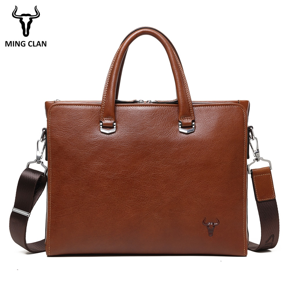 Business Bag Made of Italian Vegetable Tanned Leather Mens Briefcase Brown 14