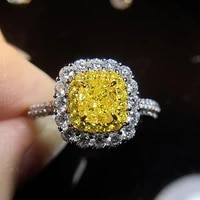 solid 18k white gold 2ctw center 1ct cushion moissanite ring and yellow moissanite halo ring for women