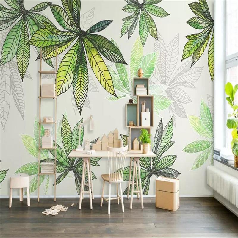 كبيرة منزل كامل مخصص العشب الأخضر المائية يترك المهنية إنتاج جدارية خلفيات بالجملة مخصص المشارك الصورة جدار