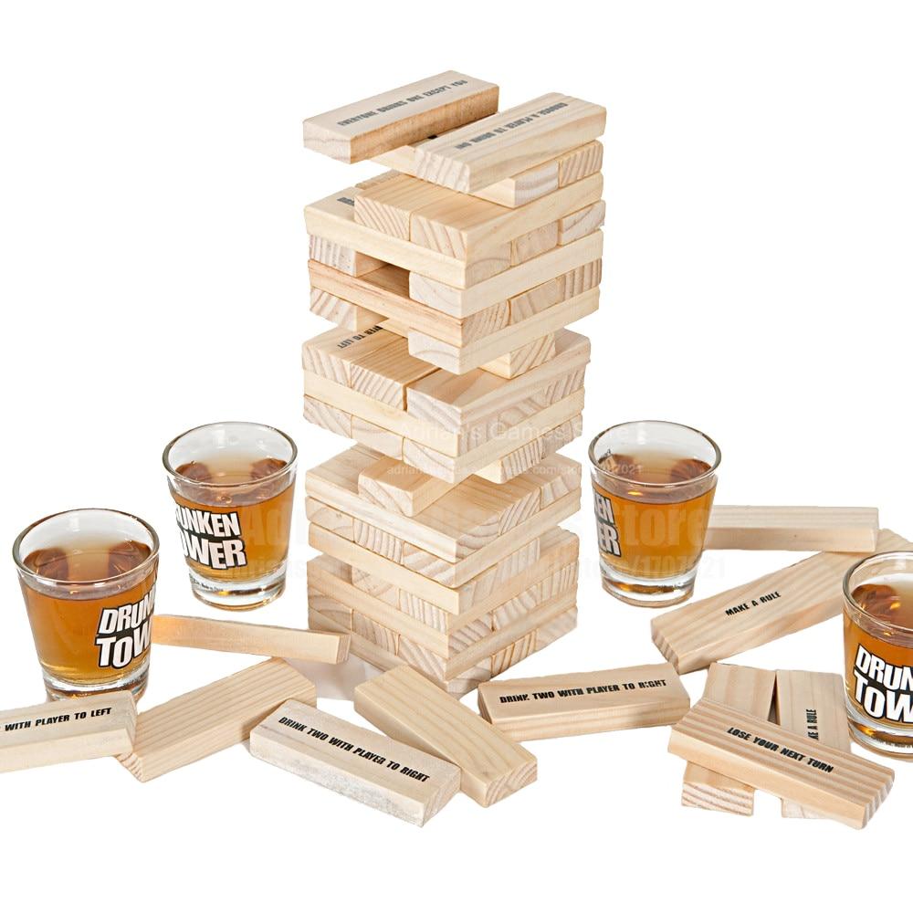 Juego de mesa de madera maciza para niños, juego de mesa de madera maciza con bloques de apilamiento, torre de juego para beber, juego de Bingo, Pub/Club nocturno