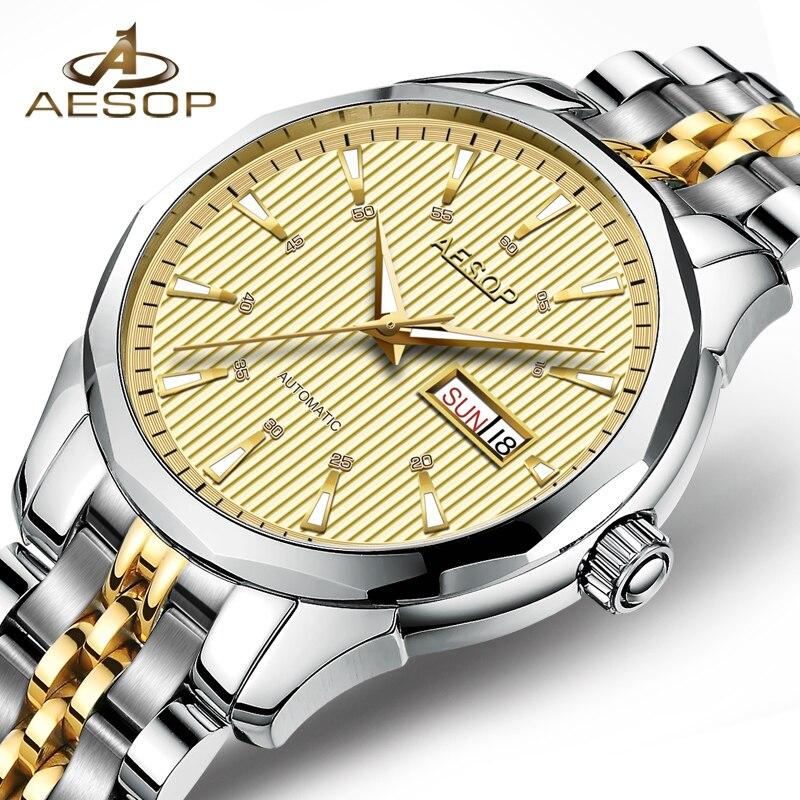 Reloj mecánico automático mecanismo Miyota de lujo para hombre, reloj de pulsera dorado de acero inoxidable para hombre, reloj Masculino