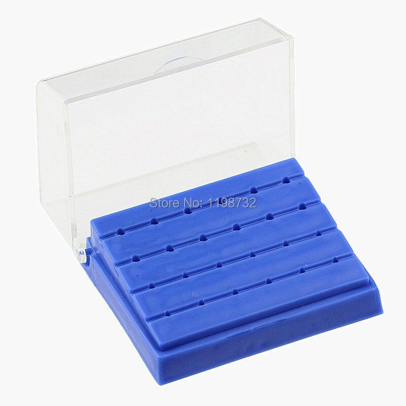 Equipo de laboratorio Dental 24 agujeros plástico Bur titular Burs bloque caja azul dentista productos envío gratis