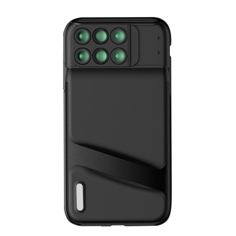 Nuevo para iPhone XS MAX lente de doble cámara 6 en 1 lente Macro gran angular de ojo de pez para iPhone XS MAX telescopio Zoom lentes + funda