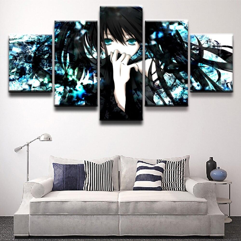 Lienzo impreso póster decoración del hogar pintura arte pared 5 Panel animación negro Rock Shooter imágenes de papel sala de estar Modular enmarcado