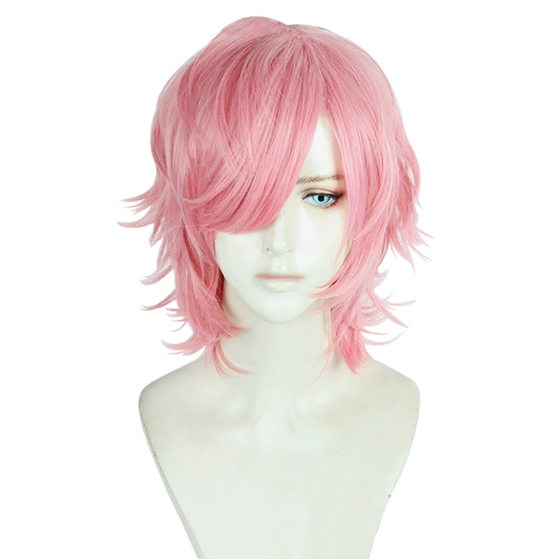 Yarichin الكلبة Bu نادي Ayato يوري تأثيري الباروكة الاصطناعية الشعر الوردي مجعد الباروكة تأثيري هالوين دور اللعب