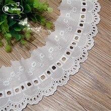 Tissus en dentelle brodée de coton   4-14Yards/lot 8 Cm, blanc 100%, vêtements bricolage, garniture en dentelle, livraison gratuite, RS539
