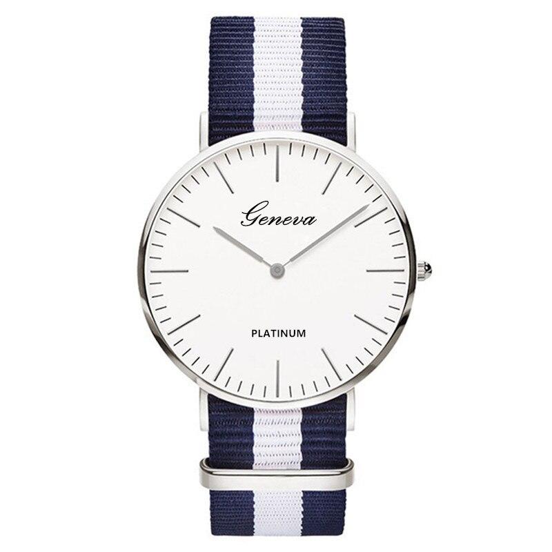 Classic Fashion Stripe Nylon Band Women Watch Top Luxury Brand Men Quartz Wrist Watch Lady Watch Mon