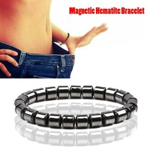 Duovei perda de peso preto hematite pedra contas pulseira de cuidados de saúde terapia magnética pulseira de estiramento para mulheres presente de jóias