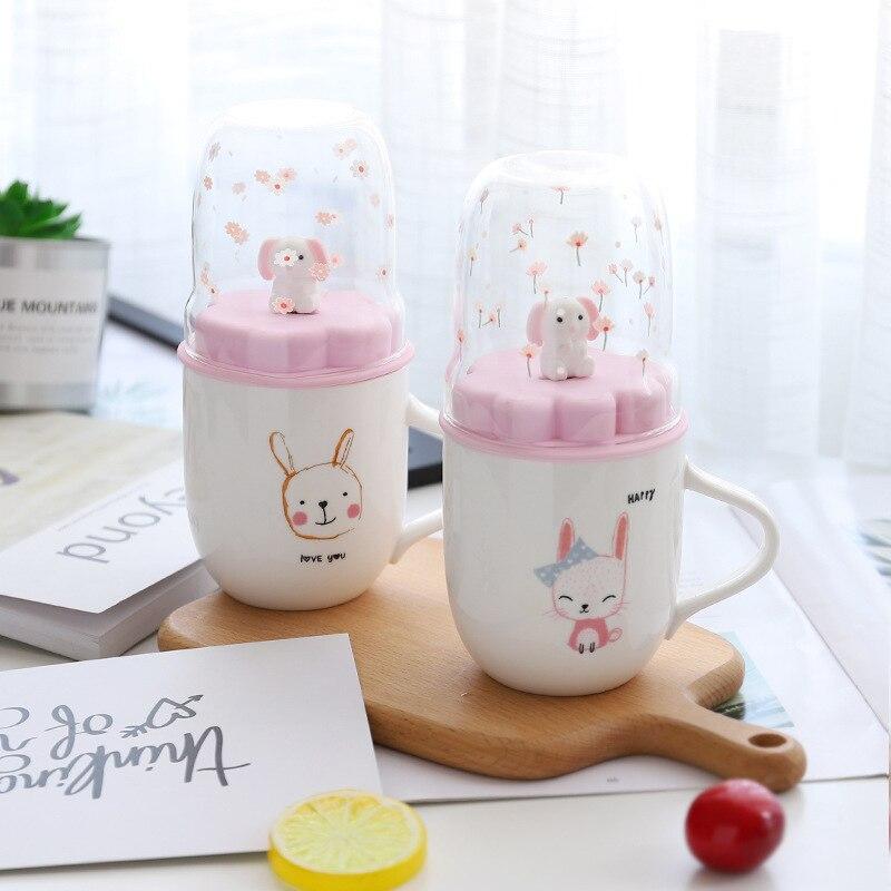 Taza de café con micropaisaje en 3D de conejo rosa de dibujos animados Para niños, Taza de leche creativa con tapa dividida Para niños, Tazas Para Taza de café