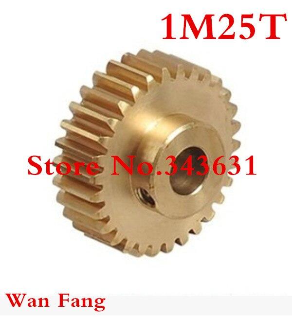 2 uds., 1M25T, 25 dientes mod = 1 engranaje cilíndrico de latón, piezas de transmisión, diámetro de la máquina, 5mm, 6mm, 6,35mm, 7mm, 8mm, 10mm