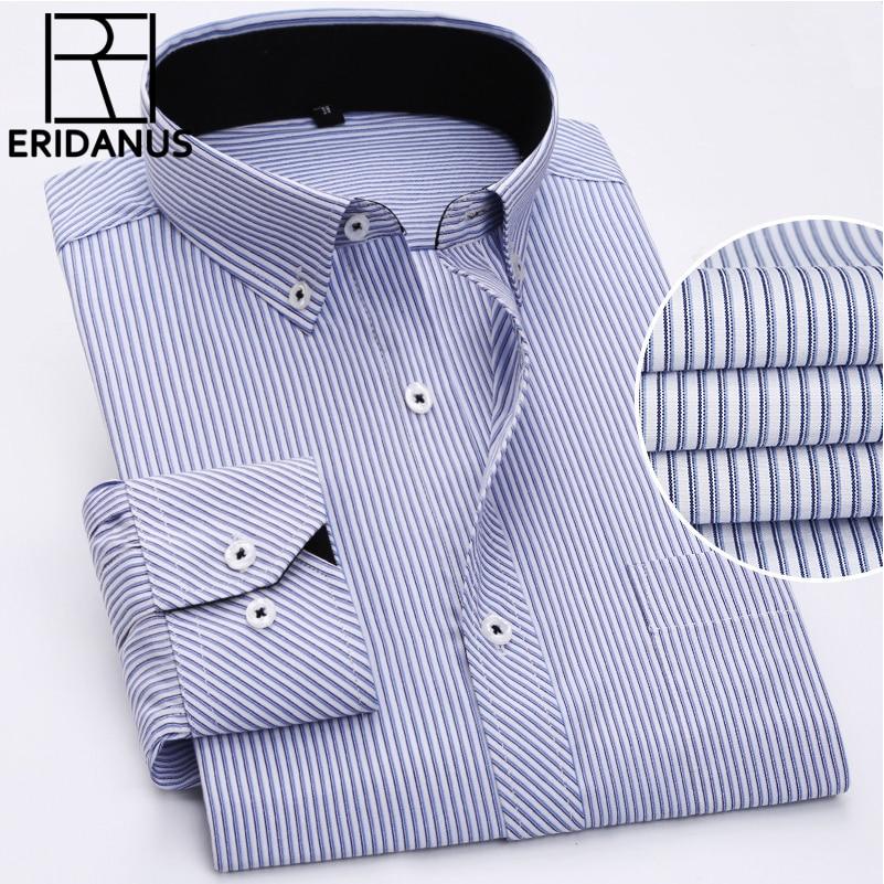 Primavera Nuevo 2017 camisa de vestir a rayas de algodón cómodos estilos de ocio moda Casual camisas de hombre de talla grande 8XL M513