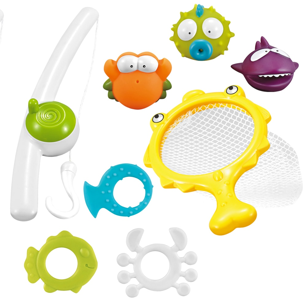 Divertido Baño de bebé red de pesca organizar escombros pato juguete clases de natación jugar playa baño con ducha de agua por pulverización juguetes para niños pequeños