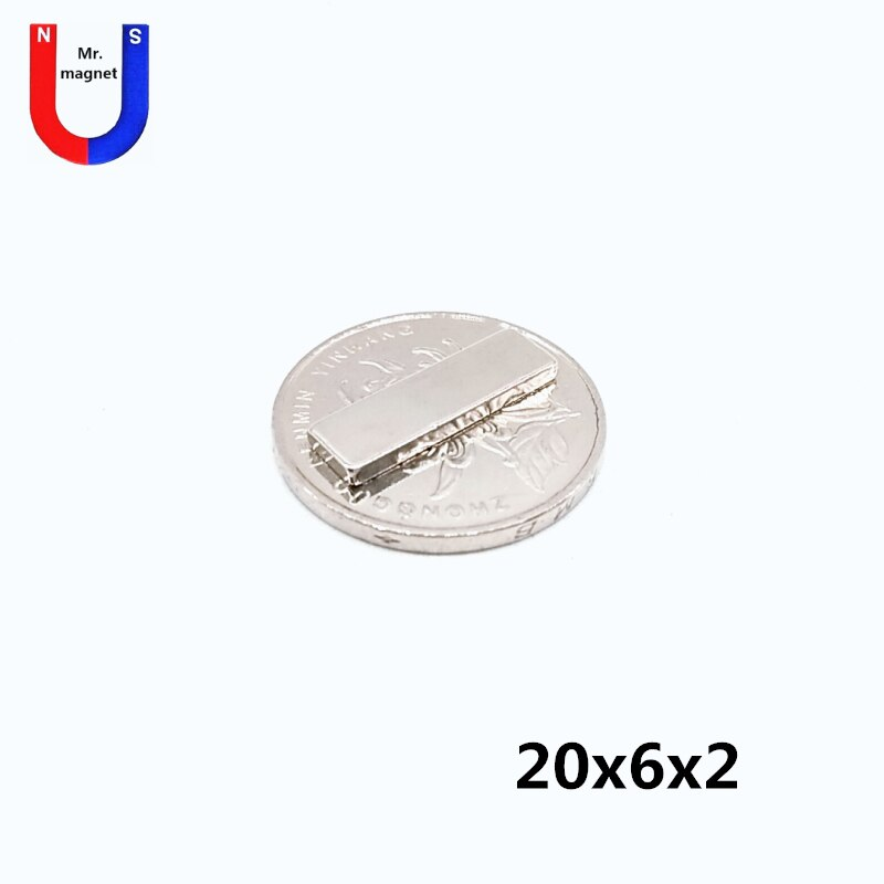 50/200/1000 шт 20 мм x 6 мм x 2 мм супер сильный неодимовый магнит 20x6x2 магнитный материал 20*6*2 редкоземельный NdFeB мощный