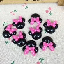 Cabochon de résine à dos plat   10 pièces, souris Kawaii à nœud rouge, bricolage, accessoires de décoration pour Scrapbooking, fabrication artisanale 25mm