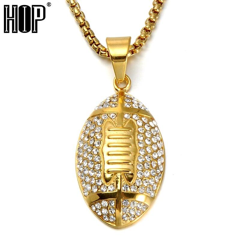 Хип-хоп, полностью Стразы, регби, футбольные подвески, ожерелье для мужчин, спортивные ювелирные изделия, 24 дюйма, золотой цвет, цепочка из не...