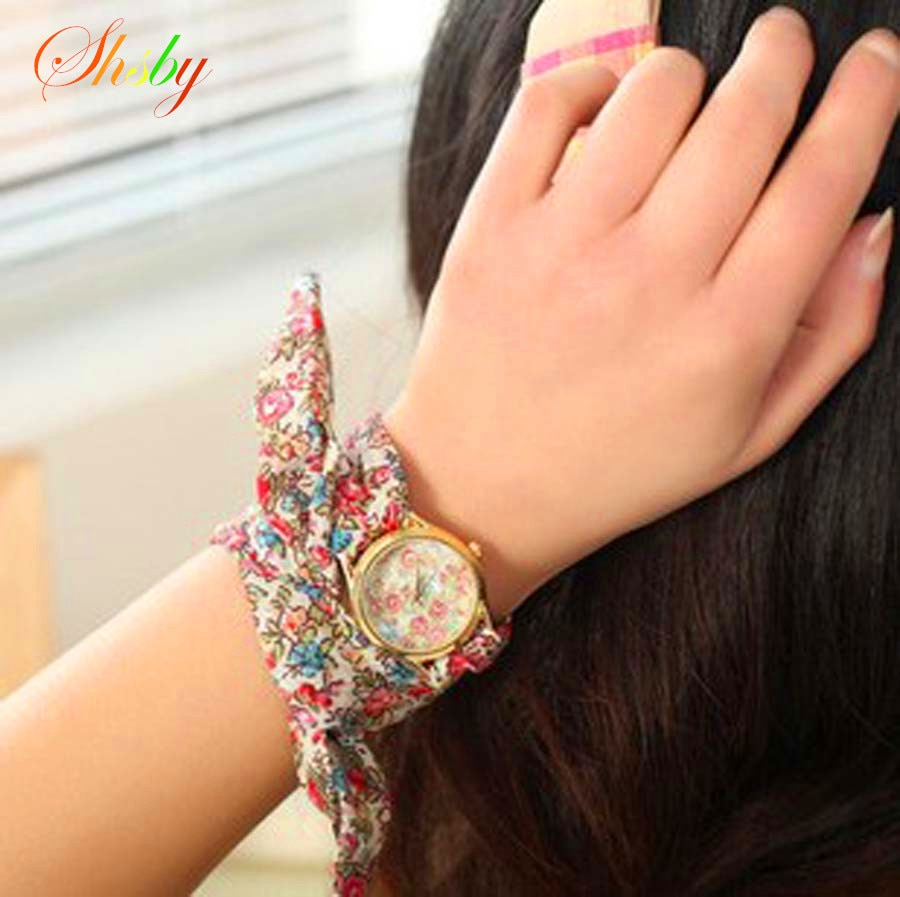 shsby new design Ladies flower cloth wristwatch floral women dress watches high quality fabric watch