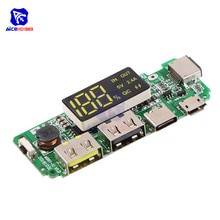 LED 듀얼 USB 5V 2.4A 마이크로/타입-C/번개 USB 전원 은행 18650 충전기 보드 과충전 과방 전 단락 회로 보호