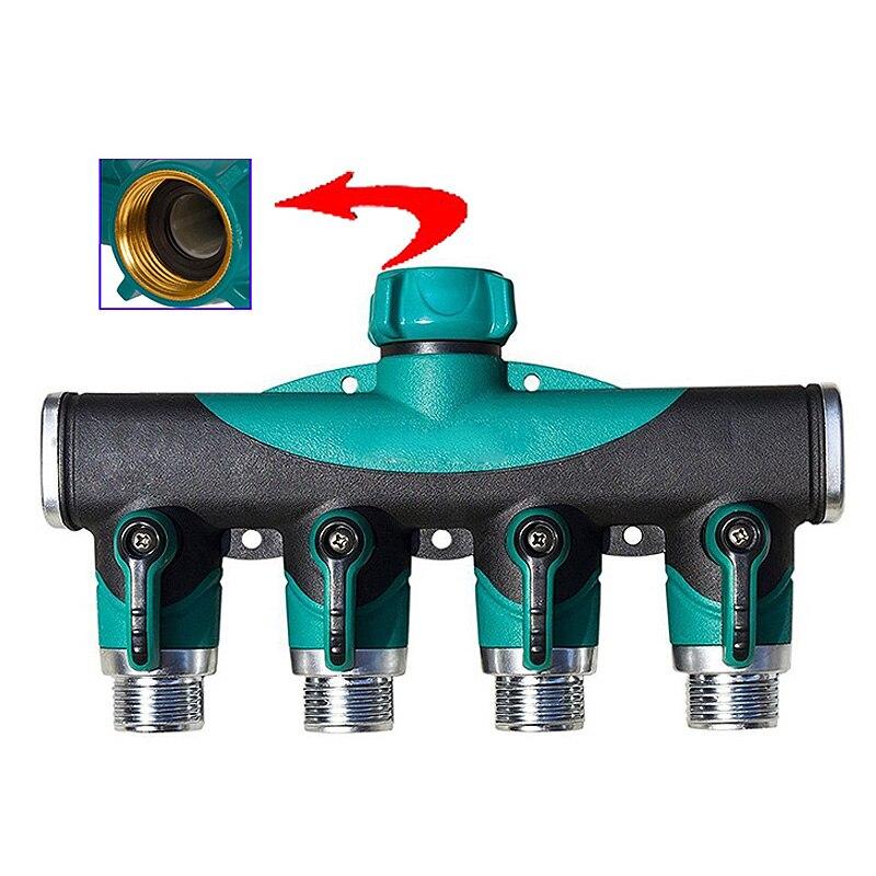 Sistema de riego adaptador de riego 4 vías conectores de manguera de agua hembra conector de rosca