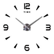 3D DIY Large Wall Clock Big Decorative Kitchen Clocks Mute Self-adhesive Acrylic Mirror Wall Stickers Time Oversize Wall Clock