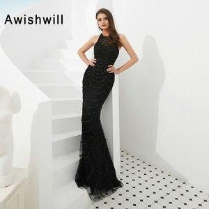 2020 Long Mermaid Prom Dresses Black Sleeveless Fully Beadings Sexy Prom Gowns Dubai Formal Evening Party Dress Vestido De Festa