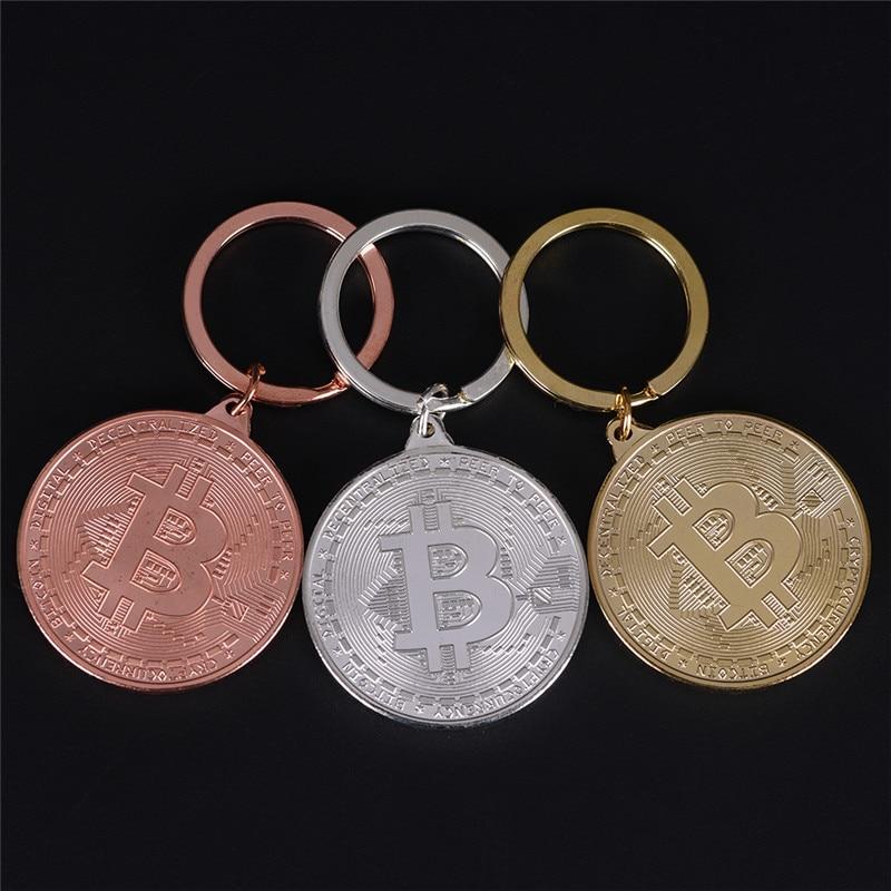 LLavero de Bitcoin de aleación de Color bronce para mujer, bolso de coche para hombre, llavero, regalo de joyería