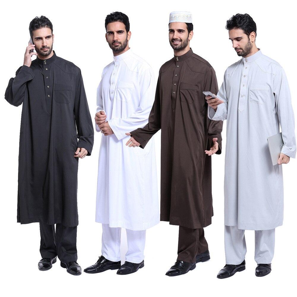 طقم عباية وسروال للرجال ، ثوب عربي سعودي ، أبيض وأسود ، أكمام طويلة ، قفطان إسلامي