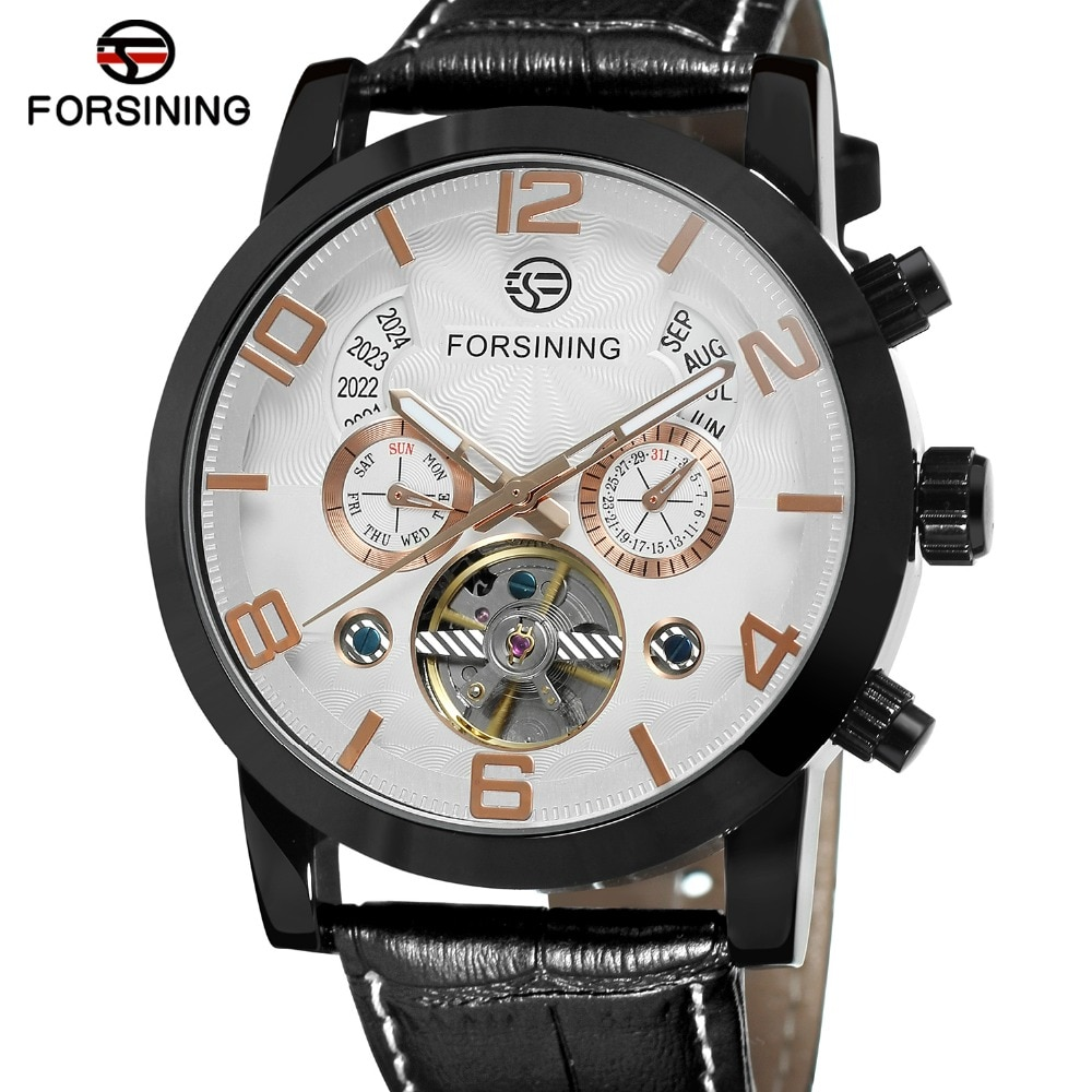 Forsining Men's New Arrival Automatic Self-winding Day Calendar Leather Strap Brand Collection Brand Wholesale Best Wrist Watch