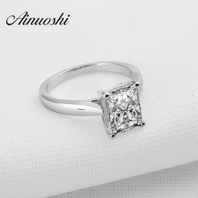 Anillo de Plata de Ley 925 con corte rectangular, anillo de compromiso sintético de Sona para mujer, anillo de joyería fina sólida