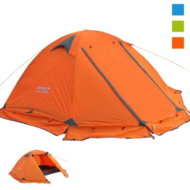 Купить с кэшбэком Camping camping tent outdoor 3-4 people double double aluminum pole windproof rainstorm with snow skirt wild tent
