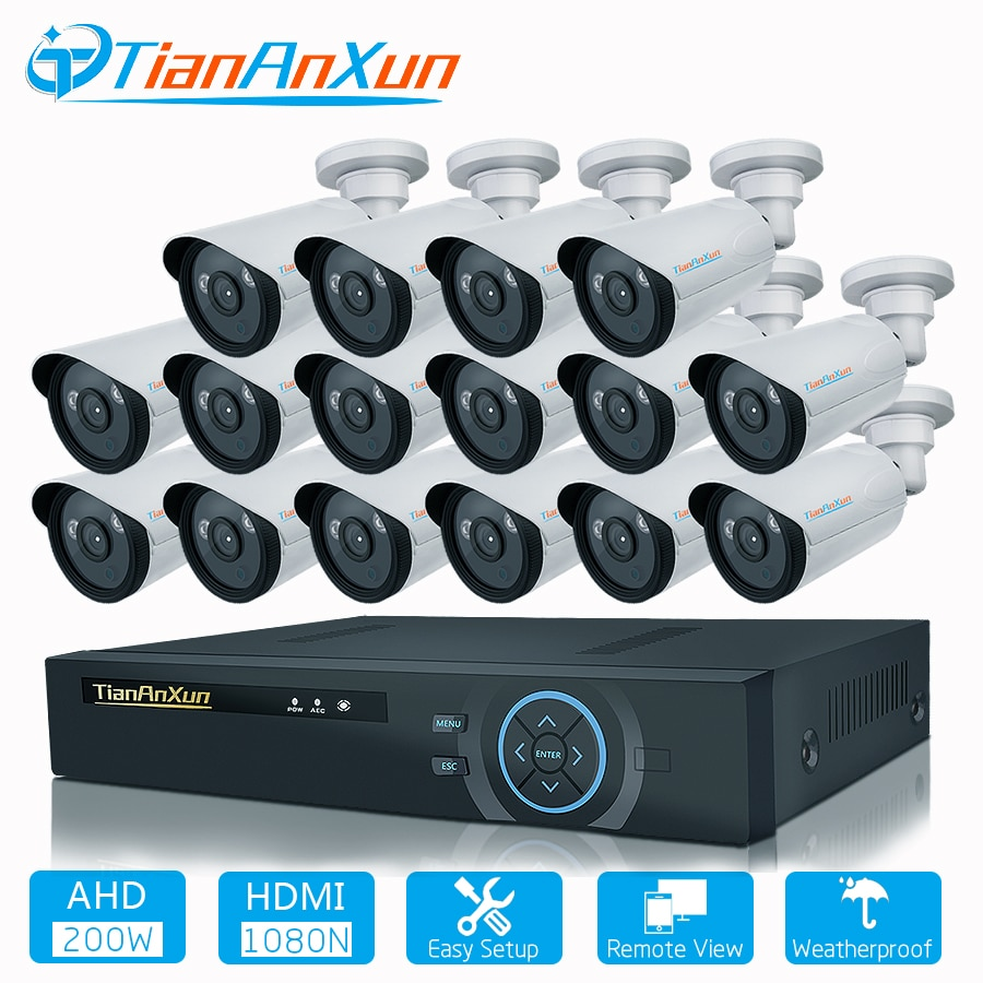 TIANANXUN-نظام مراقبة خارجي ، 16 قناة ، 1080P ، 16 قناة ، CCTV ، DVR ، طقم مراقبة فيديو iPhone ، Android ، جهاز عرض عن بعد