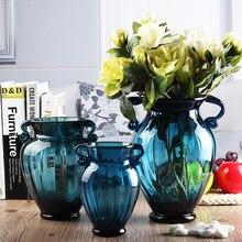Moda mavi cam vazo topraksız kurutulmuş çiçekler vintage yemek masası tezgah çiçek havzası dekorasyon
