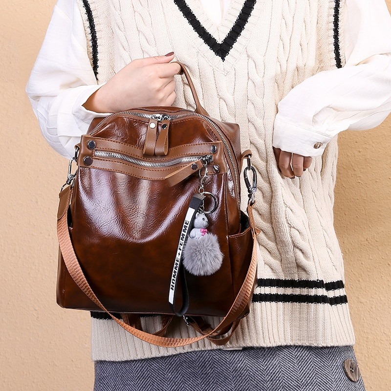 Amberler Oil Wax PU Leather Women Backpacks Fashion Small Female Travel Shoulder Bag High Quality School Bags For Teenage Girls