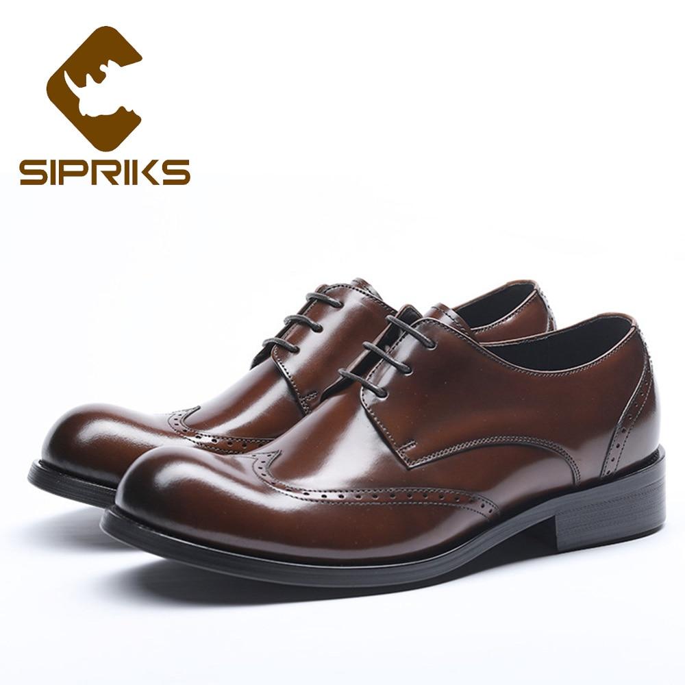 Sipriks luxo dos homens de couro genuíno vestido sapatos vintage esculpida brogue sapatos negócios escritório terno formal sapatos smoking 10 44