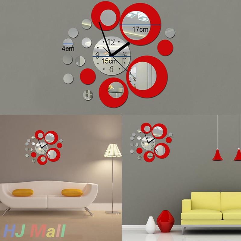 Creative Acrylic Clock Mirror Effect Wall Sticker Home Decor Craft DIY Christmas Decoration living room clock wall red modern