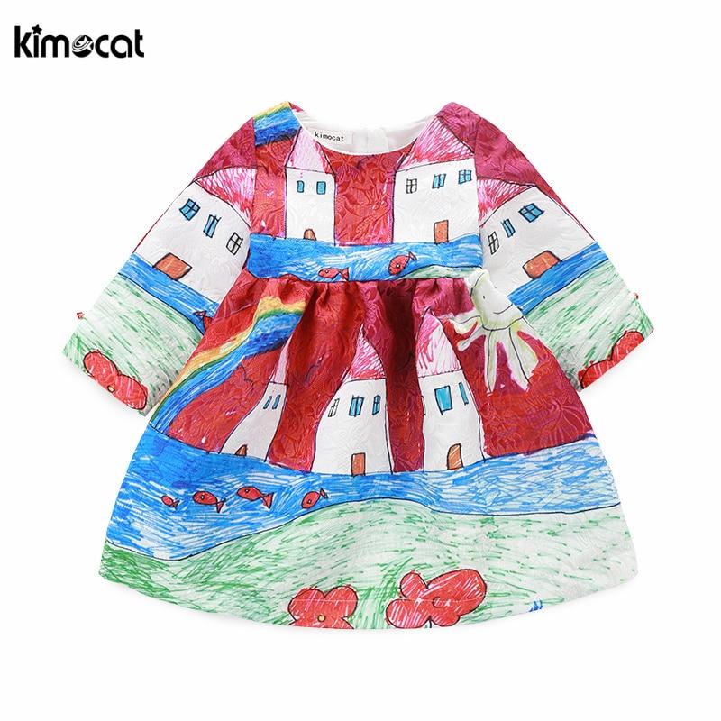 Kimocat فستان الأميرة الصغيرة موضة الخريف والربيع, Kimocat فستان الأميرة الصغيرة موضة الخريف والربيع بأكمام طويلة مع طباعة الأزهار