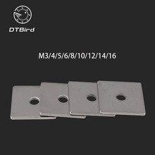 Livraison gratuite 304 acier inoxydable joint carré rondelle carrée M3 M4 M5 M6 M8 M10 M12 M14 M16 mur rideau avec coussinet carré