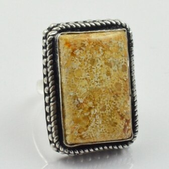 Fosil Coral anillo de plata superpuesta sobre cobre, tamaño de EE. UU. 6,75, R2452